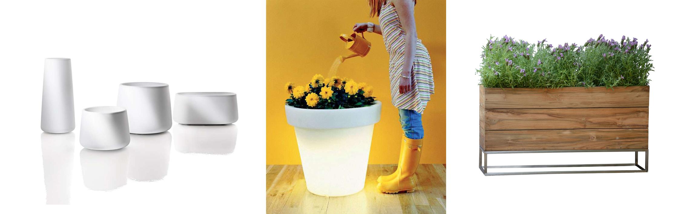 Magis Tubby Vase, Bloom Pot Blumentopf mit Licht und Jan Kurtz Minigarden