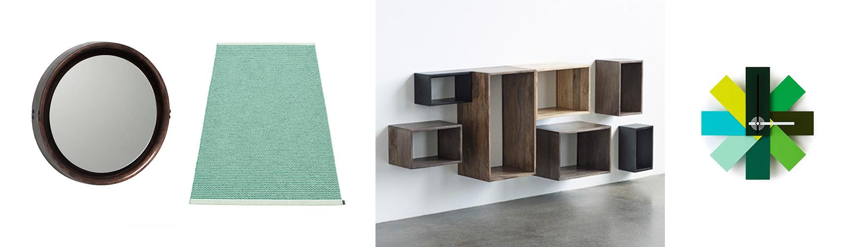 Mater Sophie Spiegel, pappelina Mono Outdoor Teppich Jade, Mater Box System Regal, Normann Copenhagen Watch Me Wanduhr