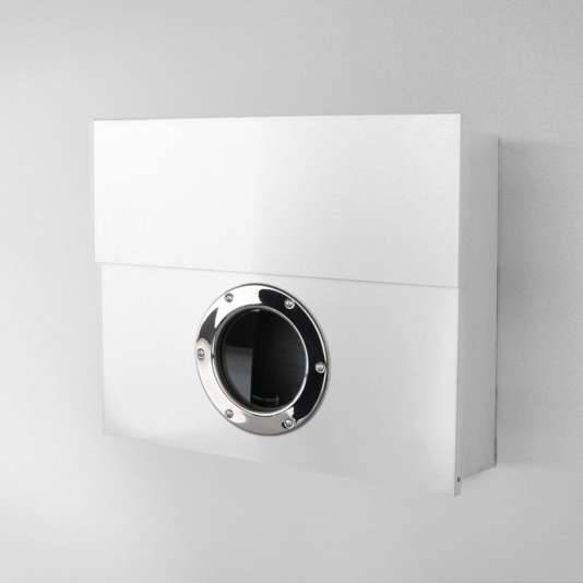 Radius Design Letterman XXL Briefkasten weiß (RAL 9003) ohne Klingel mit Pfosten in Briefkastenfarbe 567 e