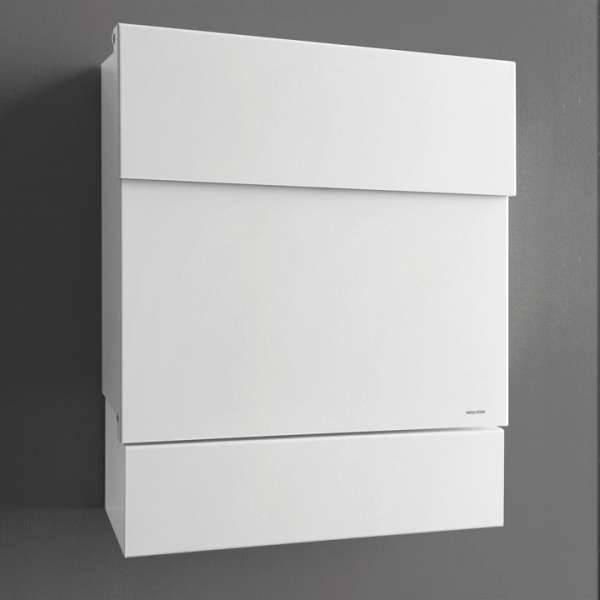Radius Design Letterman 5 Briefkasten weiß (RAL 9003) ohne Klingel mit Pfosten in Briefkastenfarbe 566 e