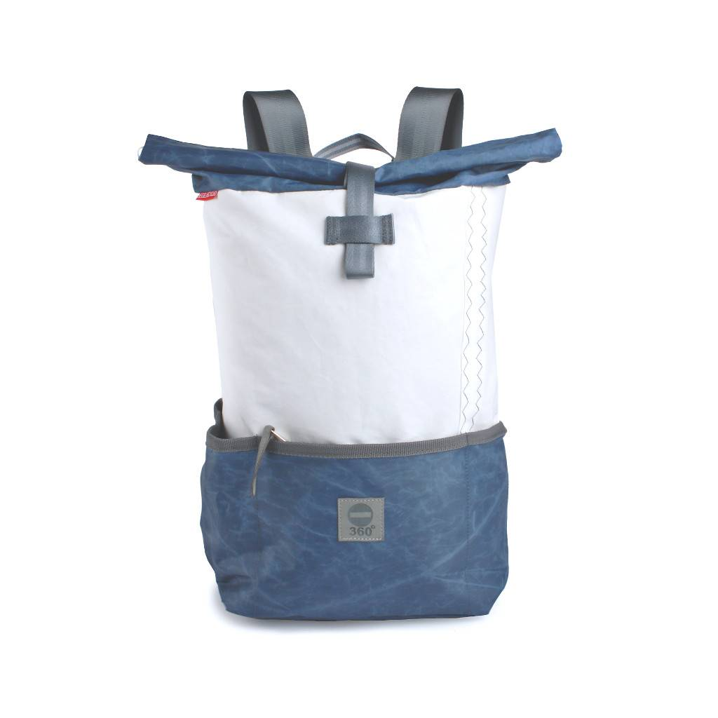 360° Taschen 360° Lotse Segeltuchrucksack weiß / blau 2005
