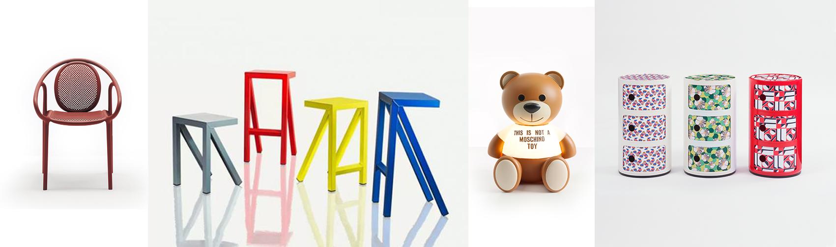 Pedrali Remind 3735 Armlehnstuhl, Magis Bureaurama Kollektion, Kartell Toy Tischleuchte und Kartell Compoinibili La Double J Container