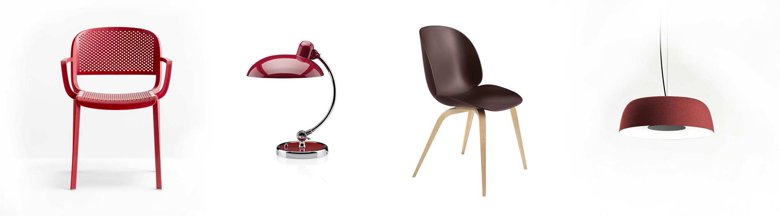 Pedrali Dome 266 Stuhl mit Armlehne, Kaiser Idell 6631-T Luxus Tischleuchte, Gubi Beetle Chair-Stuhl und Marset Djembé Pendelleuchte