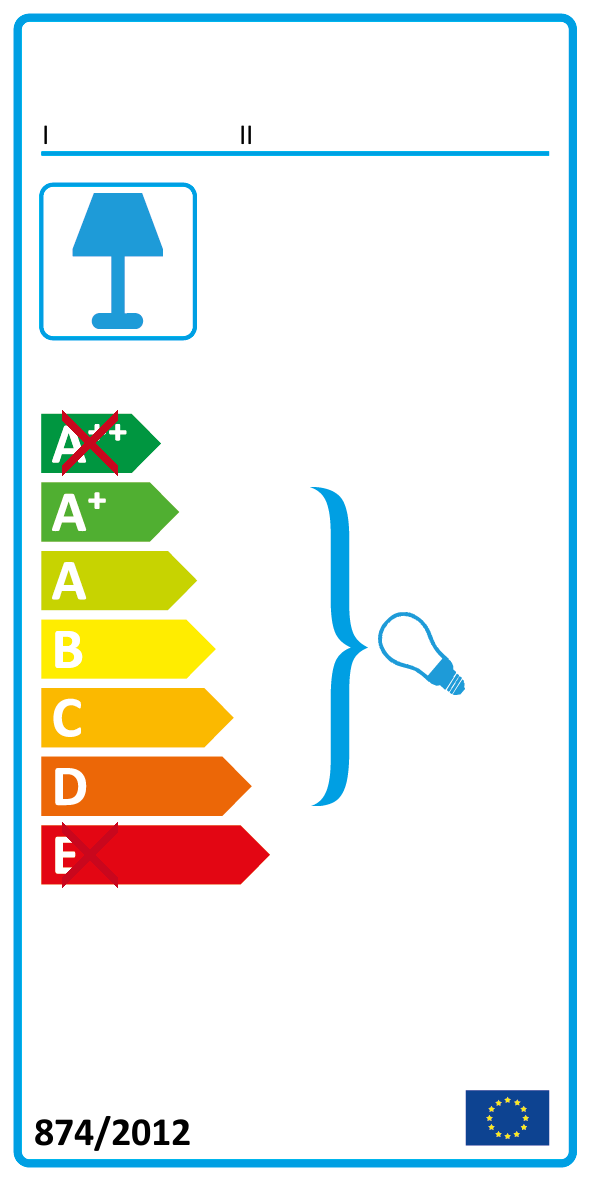 A+ bis D (Diese Leuchte ist geeignet für Leuchmittel der Energieklassen A+ bis D)