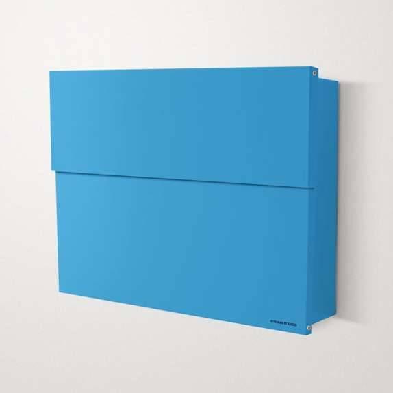 Radius Design Letterman XXL 2 Briefkasten blau (RAL 5012) ohne Klingel mit Pfosten in Briefkastenfarbe 568 n