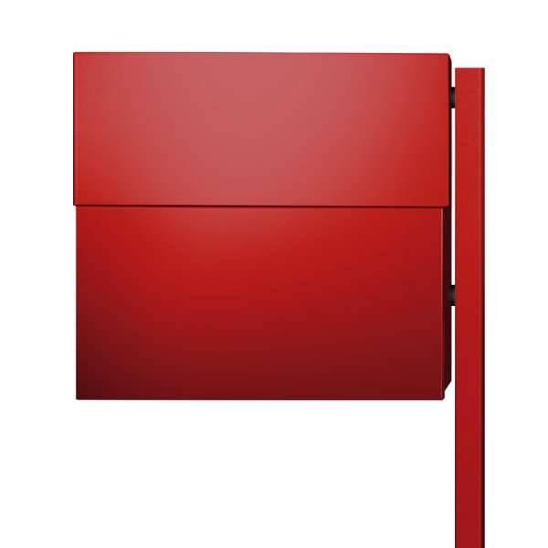 Radius Design Letterman XXL 2 Briefkasten rot (RAL 3020) ohne Klingel mit Pfosten in Briefkastenfarbe 568 r