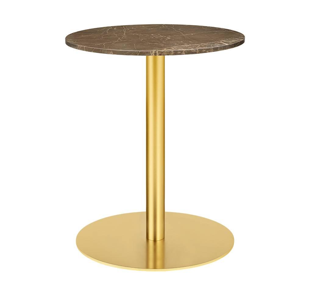 Gubi Table 1.0 Esstisch rund Ø 60cm Marmor braun messing 10012424