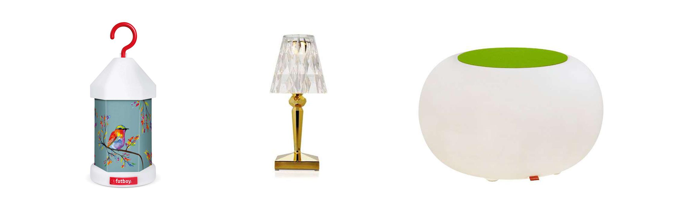 Fatyboy Lampie-On Akkuleuchte, Kartell Battery Tischleuchte und Moree Bubble Outdoor LED Akku Beistelltisch / Hocker