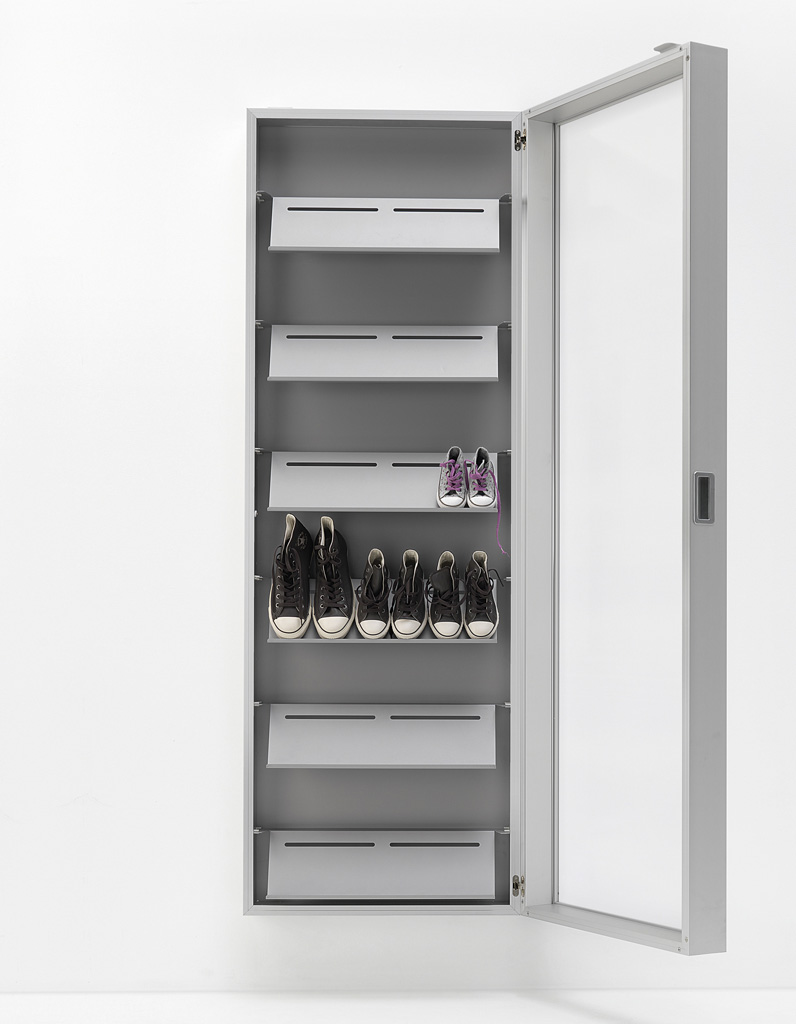 Kristalia Foot Box Schuhschrank / Spiegelschrank aluminium