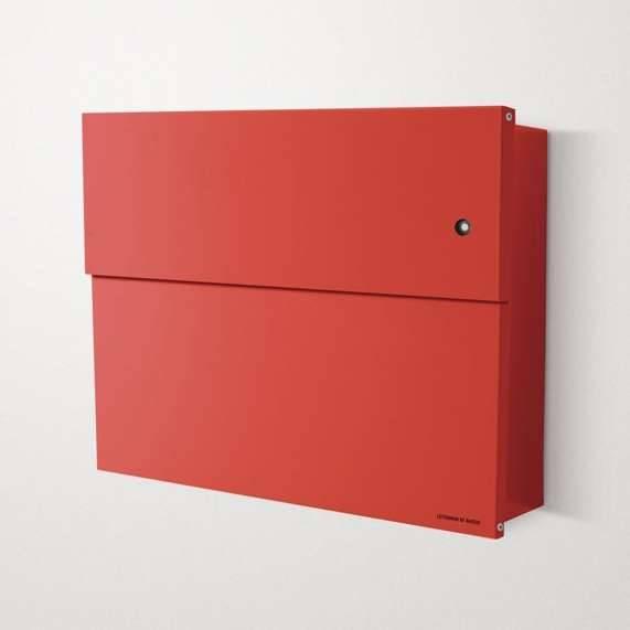 Radius Design Letterman XXL 2 Briefkasten rot (RAL 3020) mit Klingel in rot mit Pfosten in Briefkastenfarbe 568 r-kr