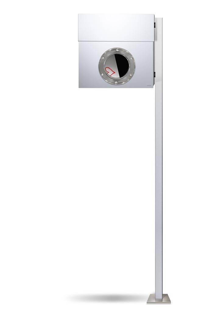 Radius Design Letterman 1 Briefkasten weiß (RAL 9003) ohne Klingel mit Pfosten in Briefkastenfarbe 563 e