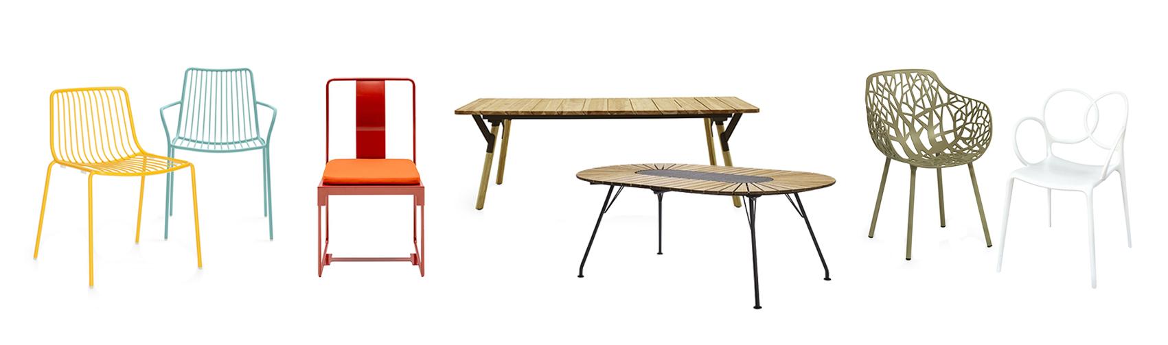 Pedrali Nolita Stuhl, Driade Mingx Stuhl, Varaschin Link Tisch, Houe Eclipse Tisch, Weishäupl Forest Outdoor Sessel und Driade Sissi Stuhl mit Armlehne