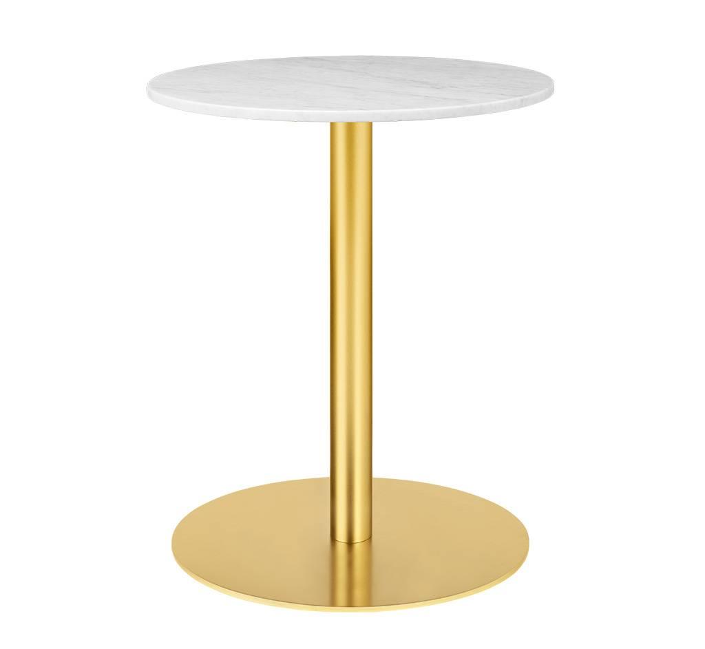Gubi Table 1.0 Esstisch rund Ø 60cm Marmor weiß messing 10012420