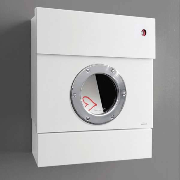 Radius Design Letterman 2 Briefkasten weiß (RAL 9003) mit Klingel in rot mit Pfosten in Briefkastenfarbe 564 e-kr