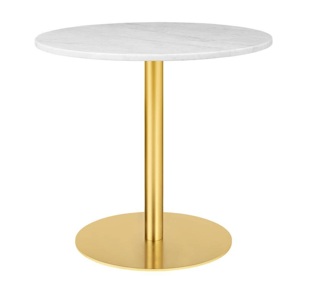 Gubi Table 1.0 Esstisch rund Ø 80cm Marmor weiß messing 10012436