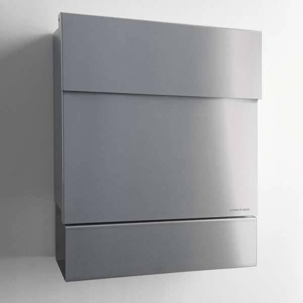 Radius Design Letterman 5 Briefkasten Edelstahl ohne Klingel mit Pfosten in Briefkastenfarbe 566