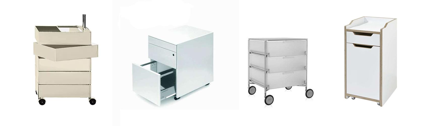 Magis 360° Container, Lapalma Cassettiera Rollcontainer, Kartell Mobil Aufbwahrungssystem und Müller Möbelwerkstätten Plane Rollcontainer