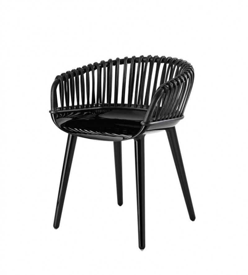 Magis Cyborg Club Stuhl schwarz glänzend Peddigrohr schwarz SD1710/1763C
