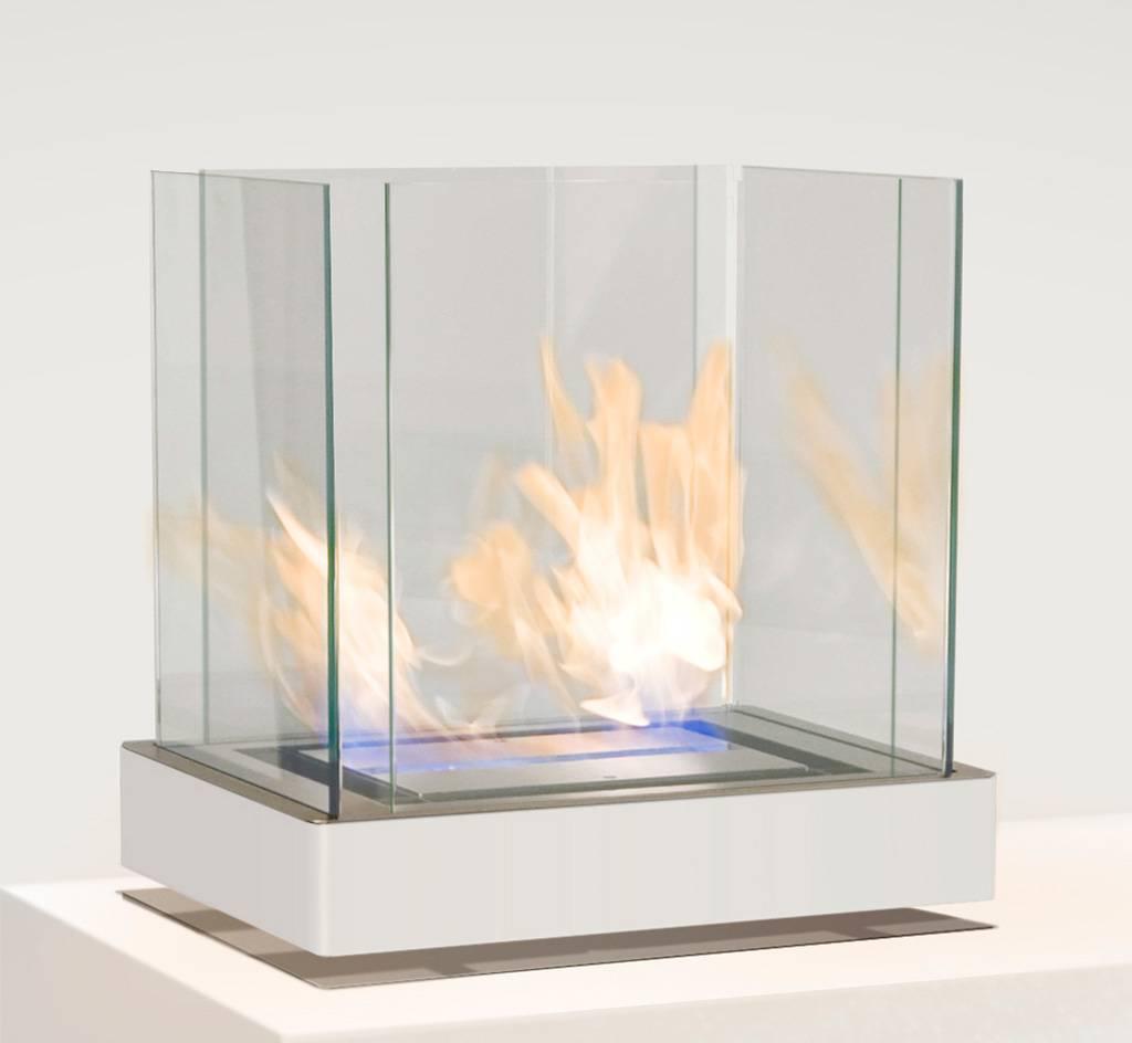 Radius Design Top Flame Ethanol Kamin weiß / Edelstahl matt 3 l Brennkammer 551 l