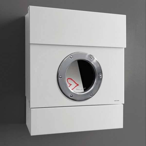 Radius Design Letterman 2 Briefkasten weiß (RAL 9003) ohne Klingel mit Pfosten in Briefkastenfarbe 564 e