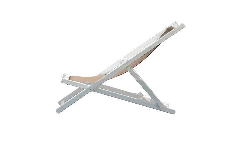 Jan Kurtz Rimini Deckchair Liegestuhl taupe weiß 492894