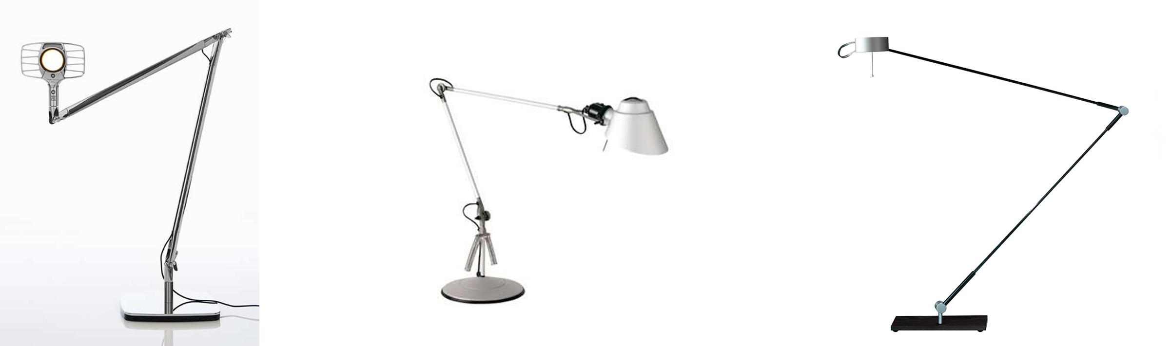 Luceplan Otto Watt Tischleuchte, Lumina Tangram Tischleuchte und Absolut Lighting Absolut LED Schreibtischleuchte