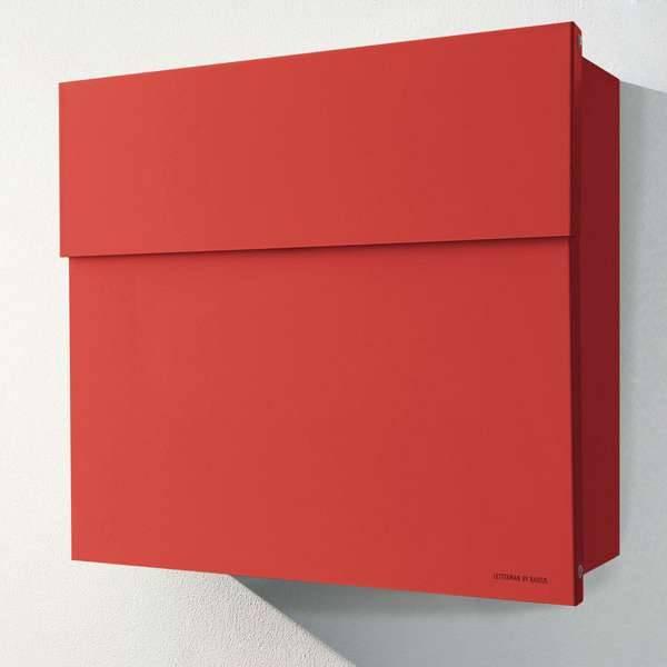 Radius Design Letterman 4 Briefkasten rot (RAL 3020) ohne Klingel mit Pfosten in Briefkastenfarbe 565 r
