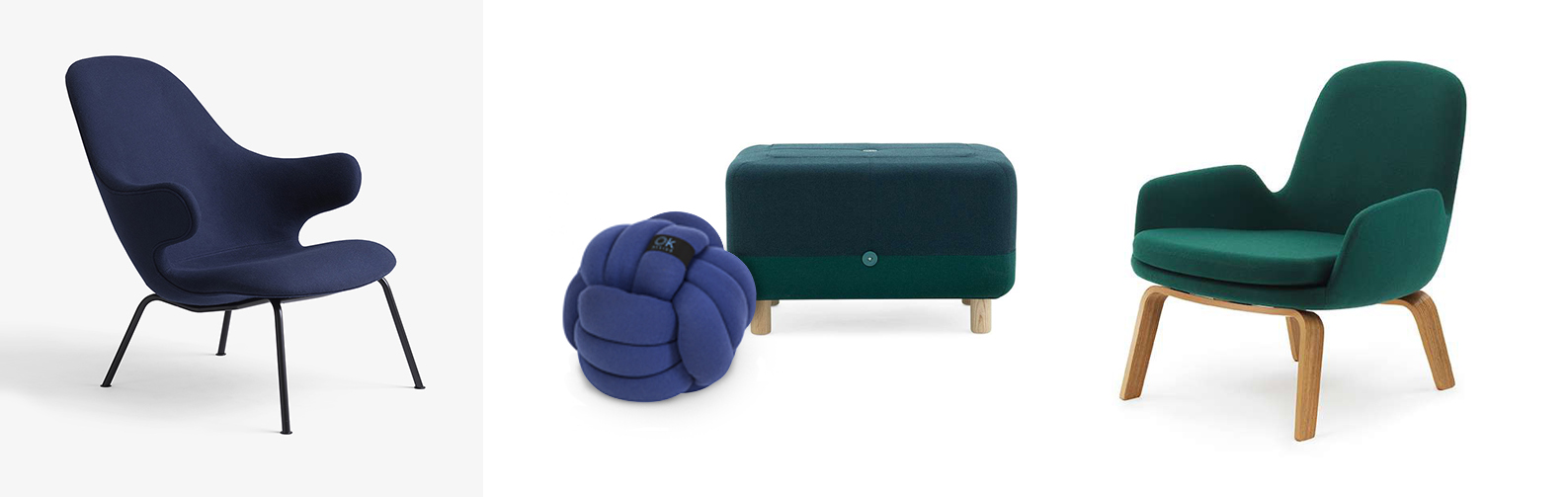 andtradition Catch Lounge JH14 Sessel, OK Design Chango Kissen, Normann Copenhagen Sumo Pouf Hocker und Normann Copenhagen Era Loungesessel