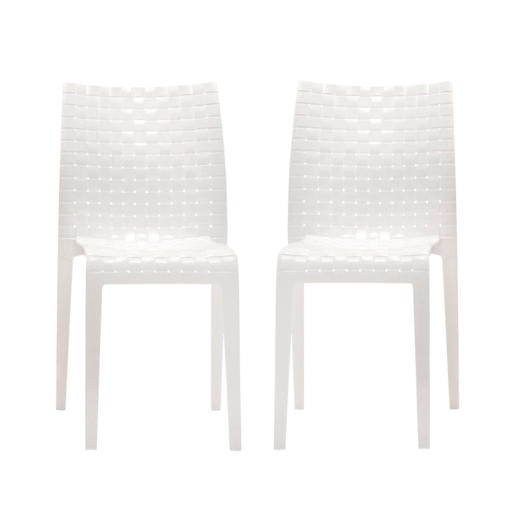 Kartell Ami Ami Stuhl-2er Set-weiß glänzend - Lagerabverkauf lagerverkauf