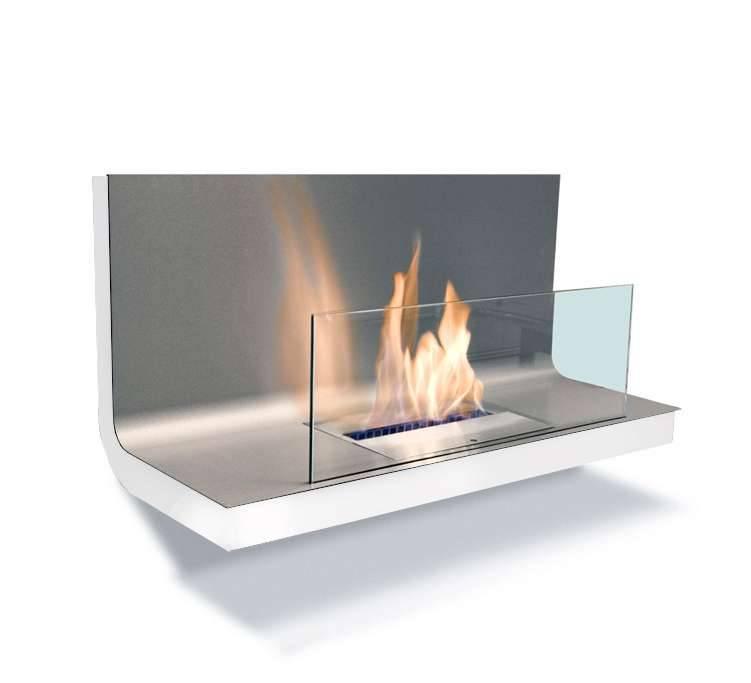 Radius Design Wall Flame 1 Ethanol Kamin Gestell weiß, Edelstahlplatte matt 536 n