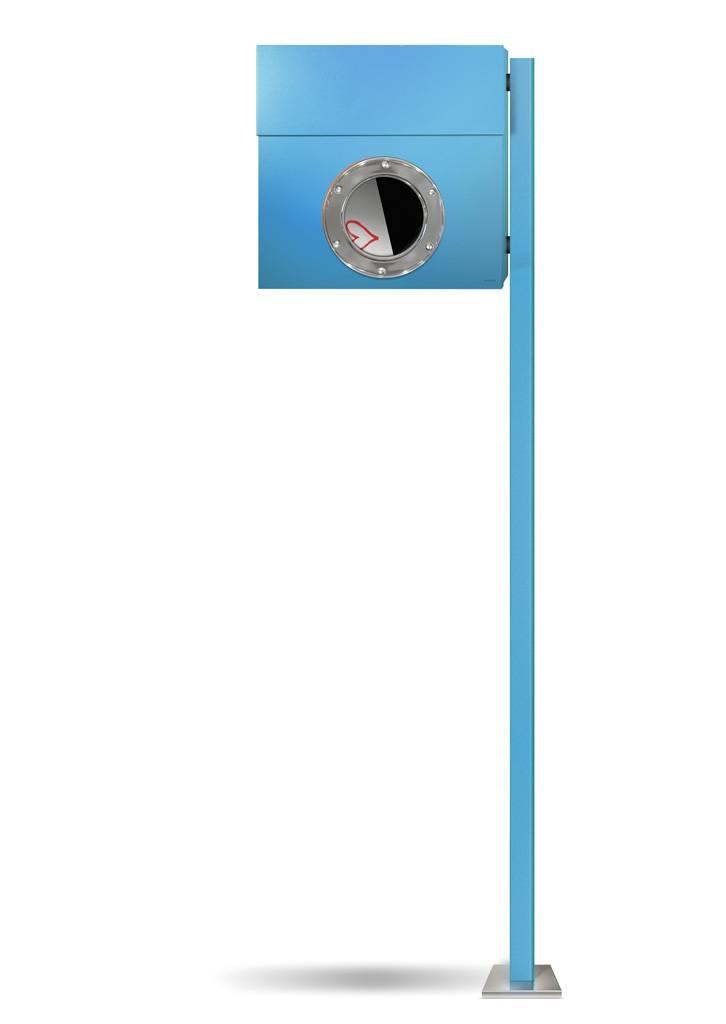 Radius Design Letterman 1 Briefkasten blau (RAL 5012) ohne Klingel mit Pfosten in Briefkastenfarbe 563 n