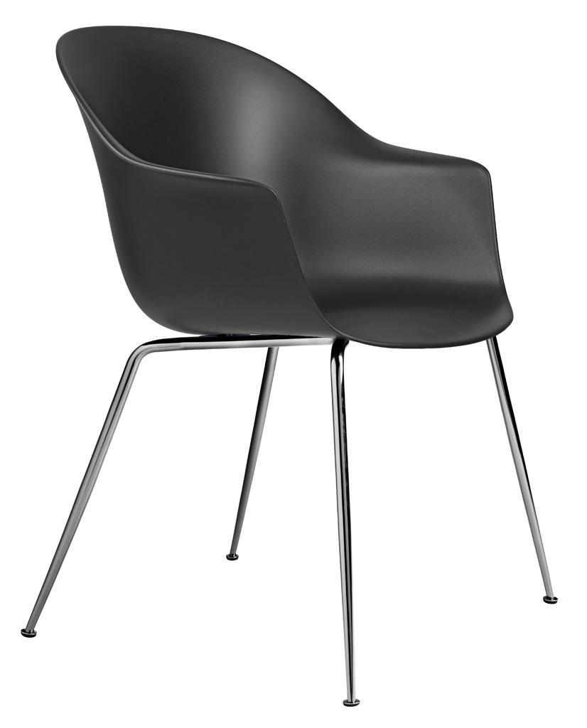 Gubi Bat Dining Chair Stuhl, Metallbeine Chrom