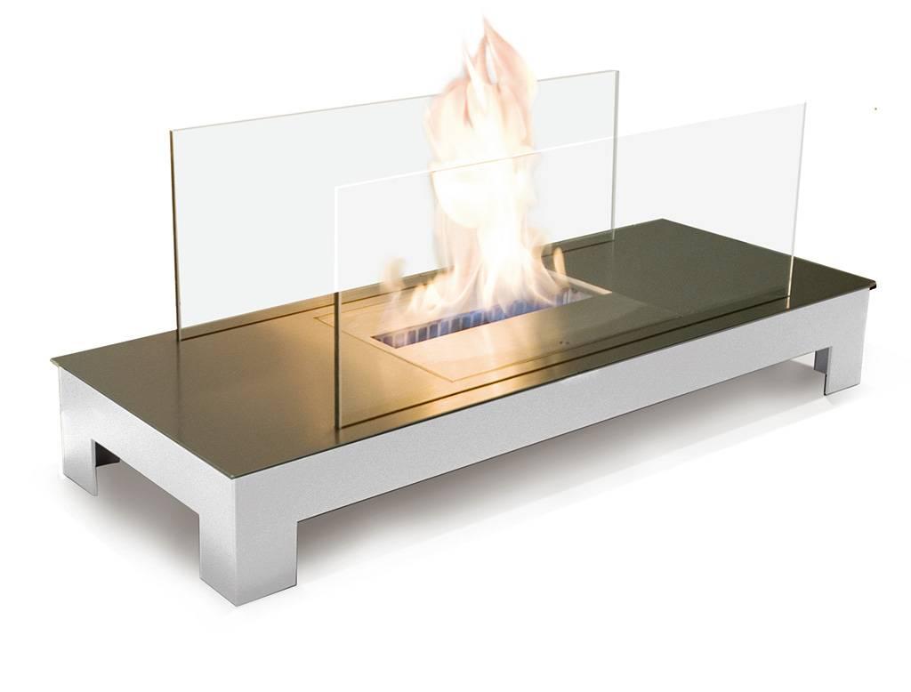 Radius Design Floor Flame Ethanol Kamin Gestell weiß, Edelstahlplatte matt 537 E